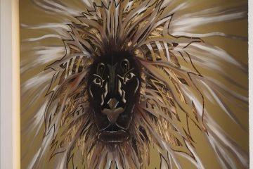 tableau moderne en acier d'aslan le lion montpelliier